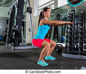 ジム, 女, squat, 練習, 空気