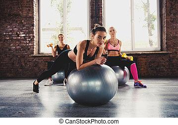 ジム, gymball, 女の子, 取り組み