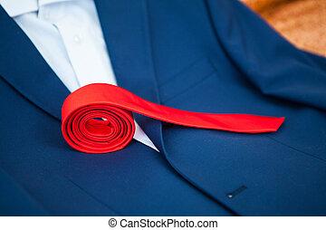 ジャケット, うそ, 倒れられる, 赤いタイ
