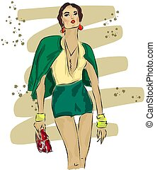 ジャケット, スケッチ, ファッション, 緑, 女の子