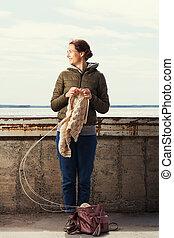 ジャケット, ブラウン, 女, knits