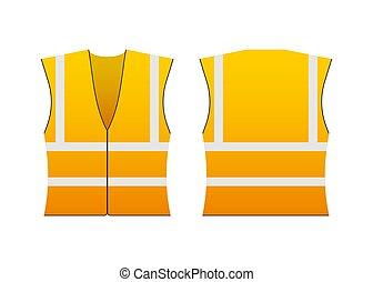 ジャケット, ベクトル, 反射, security., stripes., ユニフォーム, 安全, 黄色, illustration., 株, 仕事
