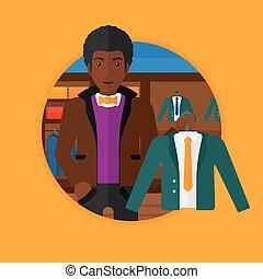 ジャケット, 保有物, スーツ, store., 衣類, 人