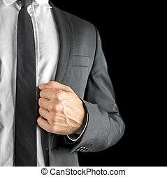 ジャケット, 折り返し, 彼の, 保有物, ビジネスマン