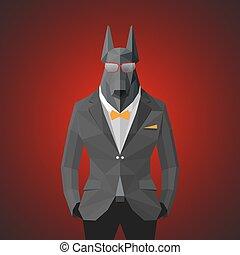 ジャケット, 灰色, 犬, 流行