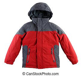 ジャケット, 白, 冬, 背景, 隔離された