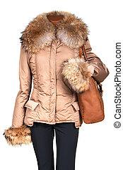 ジャケット, 袋, 女性