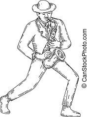 ジャズ・ミュージシャン, サクソフォーン, 遊び, monoline