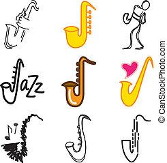 ジャズ, セット, サクソフォーン, アイコン
