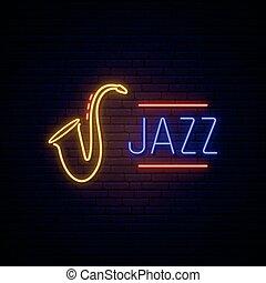 ジャズ, ネオン, 音楽, 印。