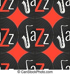 ジャズ, 単語, elements., jazz., -, concept., j, pattern., seamless, レコード, saxophone., 黒, ビニール, 背景, 手紙, 白い赤, 赤