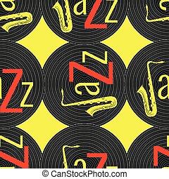ジャズ, 単語, elements., jazz., -, concept., j, pattern., seamless, 黄色, レコード, saxophone., 黒, ビニール, 背景, 手紙, 赤