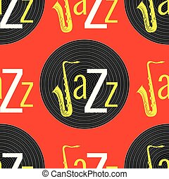 ジャズ, 単語, elements., jazz., -, concept., j, pattern., seamless, 黄色, レコード, saxophone., 黒, ビニール, 背景, 白, 手紙, 赤