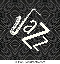 ジャズ, 単語, jazz., パターン, concept., j, -, seamless, レコード, saxophone., ビニール, 手紙