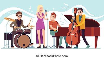 ジャズ, 特徴, ファンキーである, 実行, 音楽, 型, 祝祭, ベクトル, パーティー, 音楽家, トランペット, サクソフォーン, ドラム, musicians.