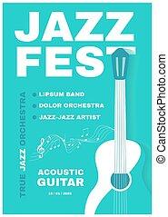 ジャズ, 生きている, guitar., fest., 音楽, 音響, ポスター, flye, template., コンサート
