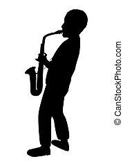 ジャズ, 隔離された, 十代, パターン, 学ぶ, プレーヤー, シルエット, ベクトル, プレーする, saxophonist, 音楽, 遊び, 白, 男の子, drawing., 人, 若い, saxophone., instrument., バックグラウンド。