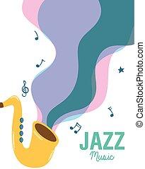 ジャズ 音楽, サクソフォーン, 道具, ポスター, fest