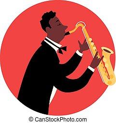 ジャズ, sax, 遊び, 人