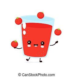 ジャッグルしなさい, 幸せ, トマトジュース, かわいい, 微笑