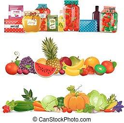 ジャム, 野菜, autum, コレクション, 食物, ボーダー, fruits.