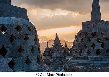 ジャワ, borobudur, インドネシア, 寺院, 日の出