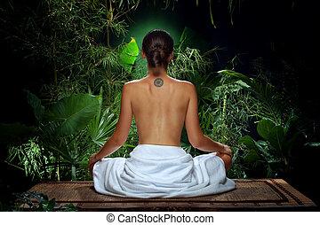 ジャングル, backview, の, すてきである, 若い女性