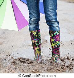 ジャンプする, 女, 雨, ブーツ