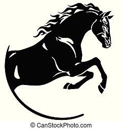 ジャンプ, ロゴ, 馬, 黒