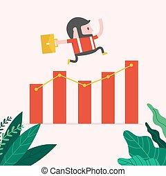 ジャンプ, 上に, chart., 情報通, 成長する, ビジネスマン