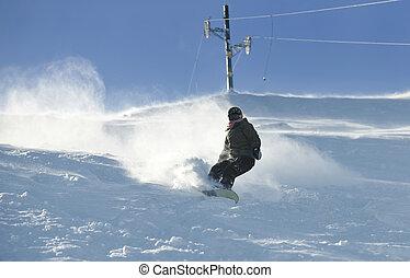 ジャンプ, 乗車, フリースタイル, スノーボーダー