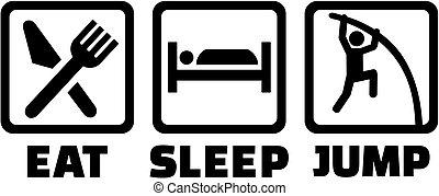ジャンプ, 地下, 棒, 睡眠, 食べなさい