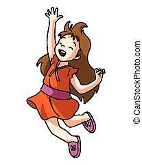 ジャンプ, 女の子, 幸せ