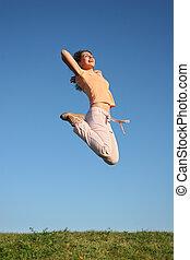 ジャンプ, 女の子, 草