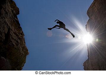 ジャンプ, 山 人, によって, ギャップ