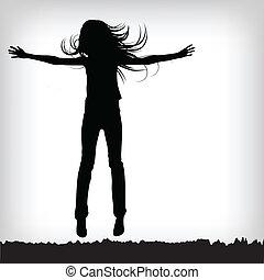 ジャンプ, 抽象的, シルエット, 女の子, 背景
