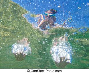 ジャンプ, 水中, 子供, 手