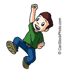 ジャンプ, 男の子, 幸せ