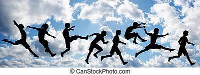 ジャンプ, 空, 子供, 雲