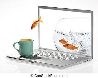 ジャンプ, 金魚, モニター, から