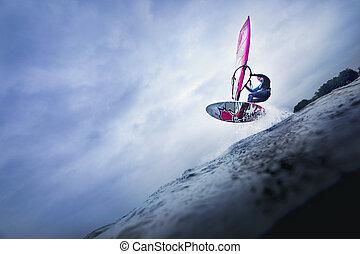 ジャンプ, 高く, 上に, ウィンドサーファー, 波