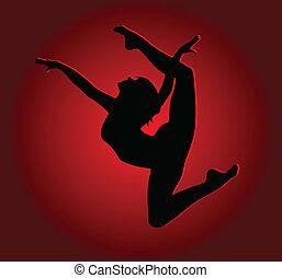 ジャンプ, 高く, 女の子, 柔軟である, ダンス