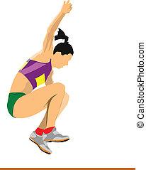 ジャンプ, comp, 運動選手, 女, 長い間