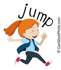 ジャンプ, wordcard, 跳躍, 女の子
