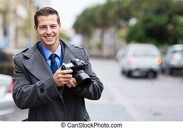 ジャーナリスト, 保有物, a, カメラ, 都市で