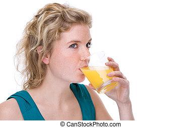 ジュース, 女, オレンジ