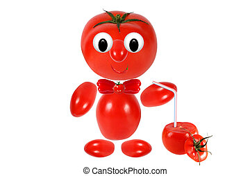 ジュース, 面白い, もつ, トマト