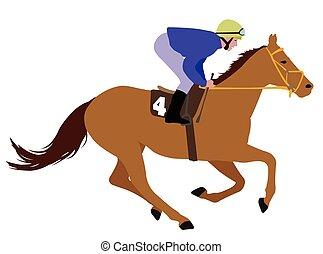 ジョッキー, 乗馬, レース, 馬