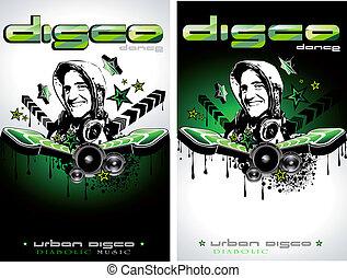 ジョッキー, discoteque, 形, 音楽, 背景, フライヤ, ディスク, でき事