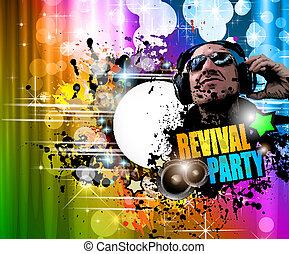 ジョッキー, elements., カラフルである, クラブ, ポスター, 抽象的, disck, 形, ディスコ, バックグラウンド。, 理想, フライヤ, デザイン, たくさん, 音楽